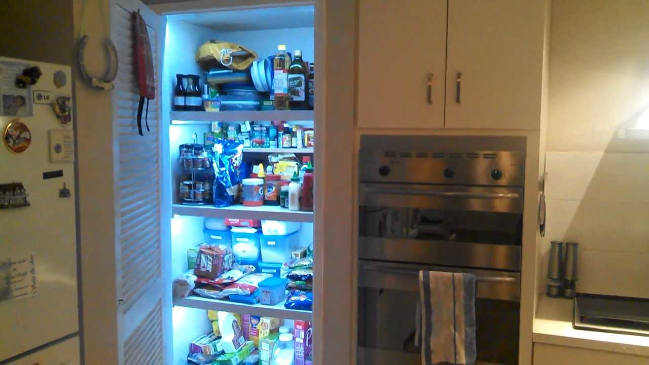 how to add a pantry your kitchen hardware trends diy automatic led strip lights in my pantry. - youtube