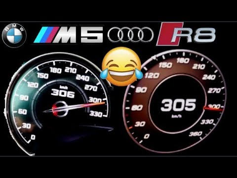 Audi #R8 V10 Plus 620 HP Vs BMW #M5 Competiton 625 HP 0-300 Km/h Acceleration Top Speed