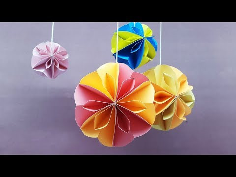 How to make Paper Ball for Decoration - Paper Crafts Honeycomb Ball