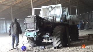 15-Д.Пуск трактора Т-150К после ремонта сцепления.Погрузка удобрения в ЗИЛ-130.