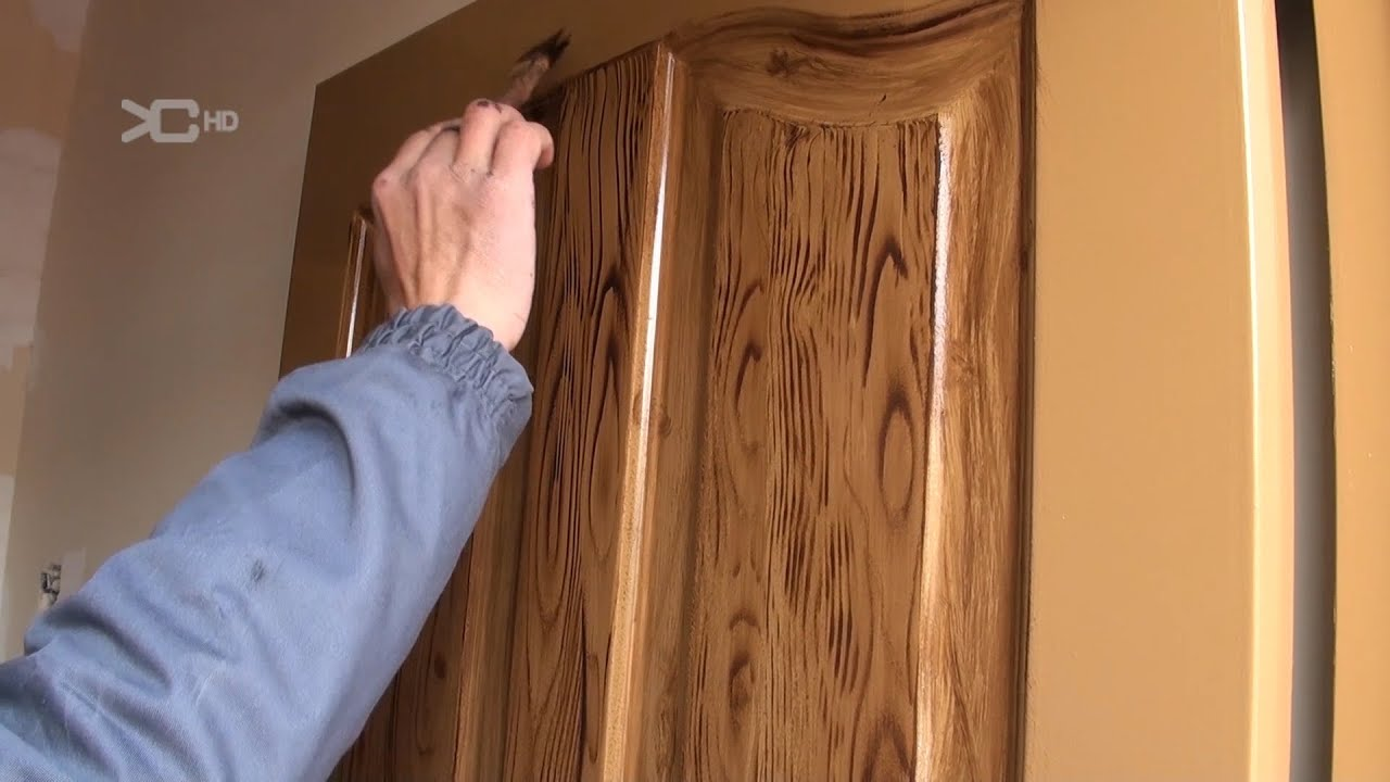 Imitacion a madera en puertas met licas youtube for Pintar ventanas de madera exterior