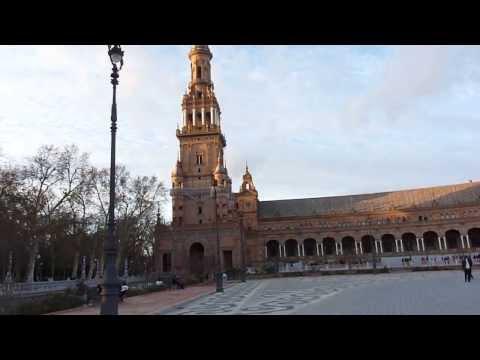 2013 España   Andalucia, Sevilla, Plaza de España, 360° , Au Coucher Du Soleil, à Noël, à Vélo