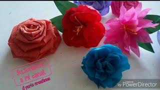 Como hacer flores de papel crepe ... flor rococo ...    flores faciles