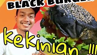 BLACK BURGER KEKINIAN!!!! || Pembuatan burger hitam || Black burger murah cuman 10.000