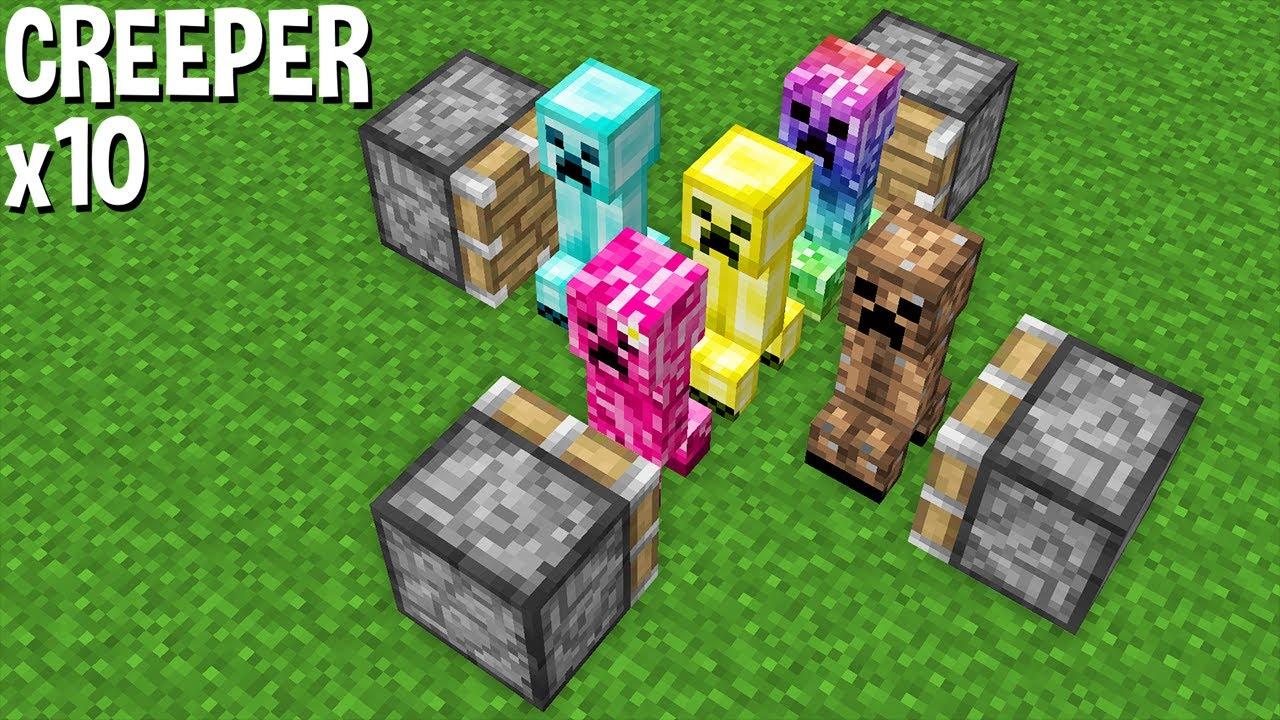 CREEPER x10 = COMBINE super rare CREEPER in one CREEPER in Minecraft !
