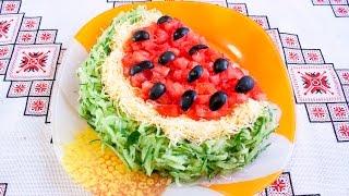 Салат Арбузная долька рецепт Салат АРБУЗ Красивые салаты Салат Скибка кавуна Салат Долька арбуза