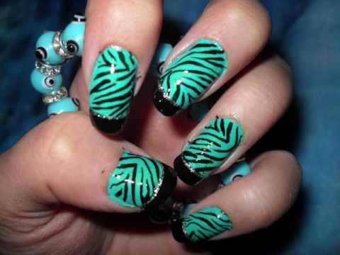 turquoise zebra nails
