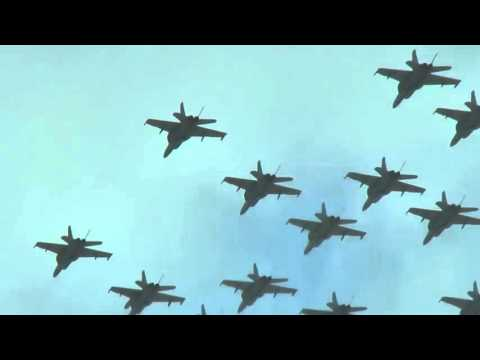Fly over of 20 jets
