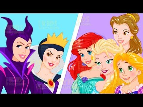 Disney Princesses vs Villains - Elsa Rapunzel Ariel Snow White Dress Up Game