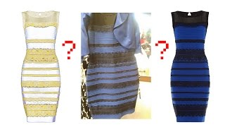 What color is this dress: Gold and white or blue and black?