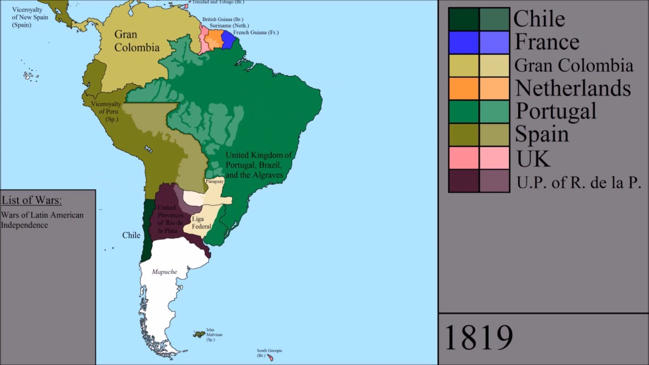 Colonial South America Map.The History Of South America Every Year Youtube