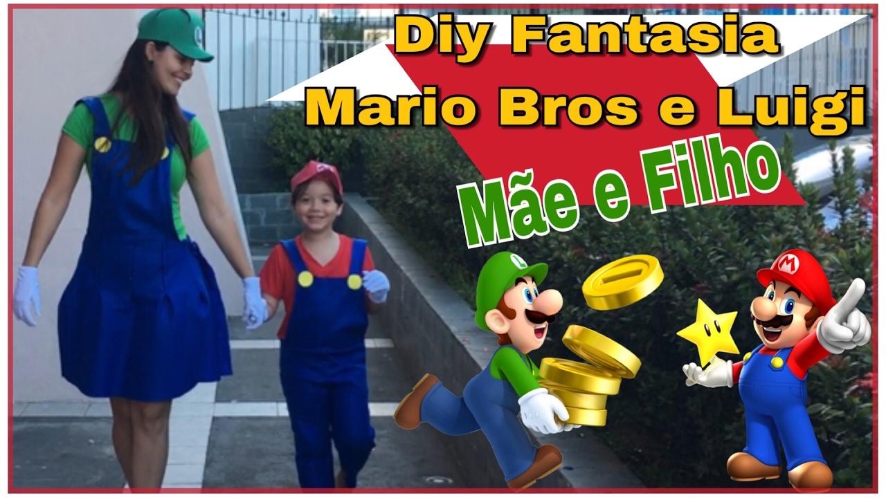 a5844e4823bdb Diy Carnaval 2019 Fantasia Mario Bros e Luigi - Fantasia Mãe e Filho ...
