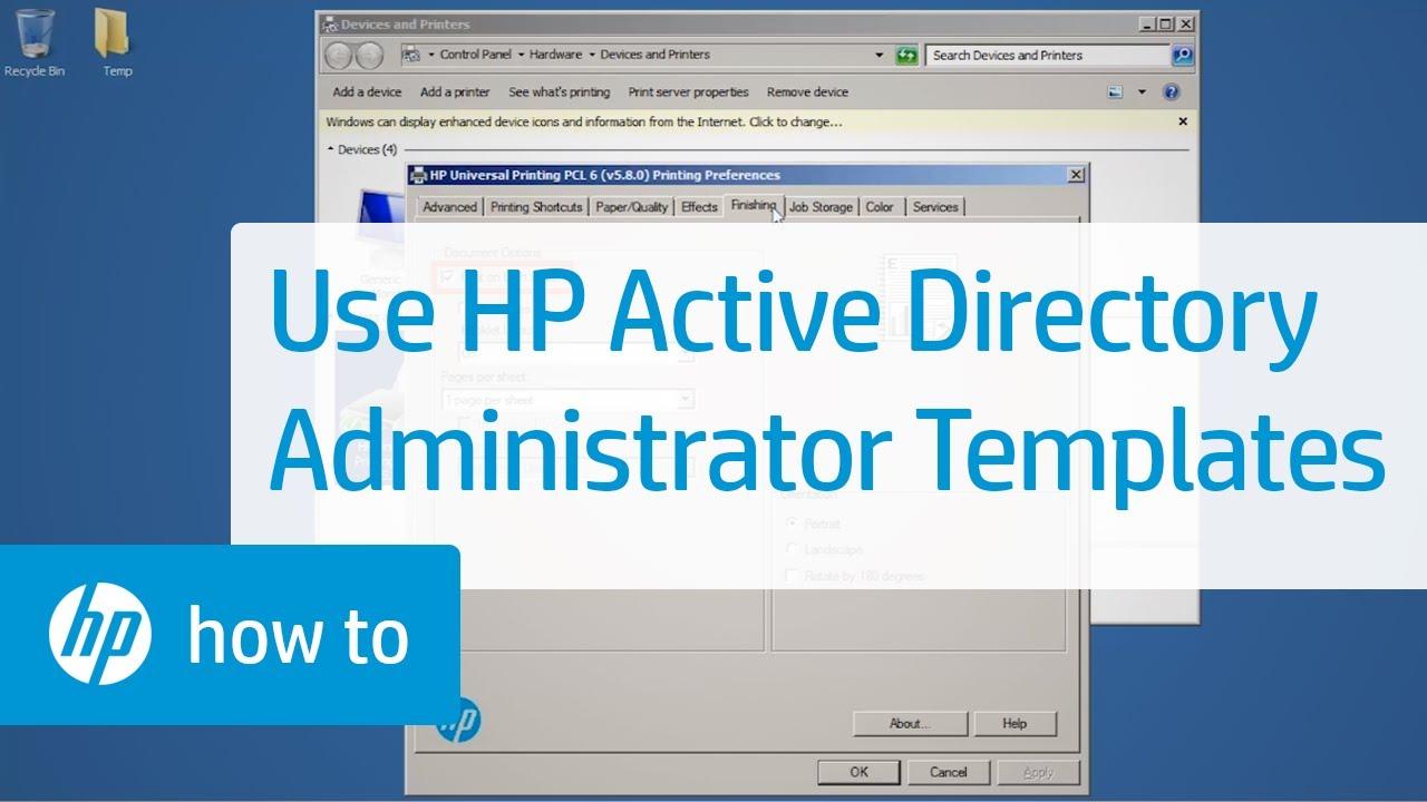 Using HP Active Directory Administrator Templates | HP Printers | HP