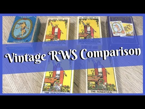 Vintage RWS Deck Comparison - Blue Box, Blushing Fool, Sunburnt Magician, Yellow Box, UK Purple Box