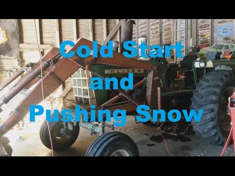 Oliver 1755 Diesel Loader Tractor Cold Start Pushing Iowa Snow