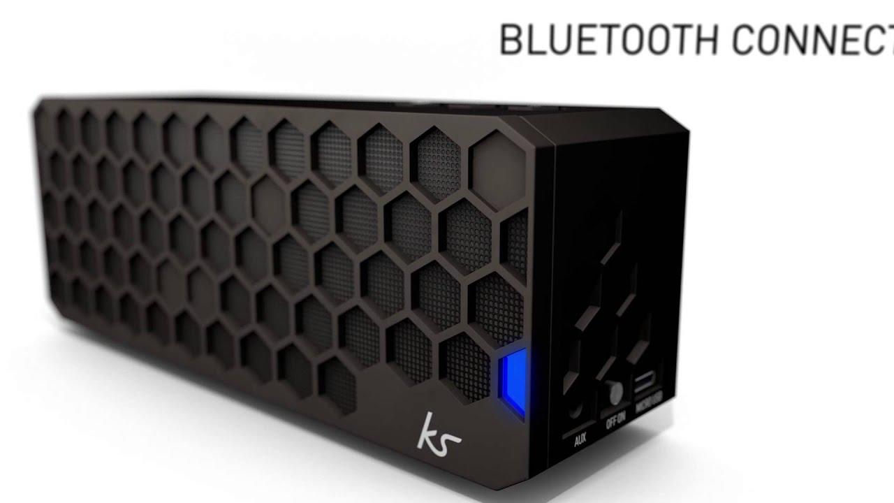 kitsound hive bluetooth wireless portable stereo speaker black