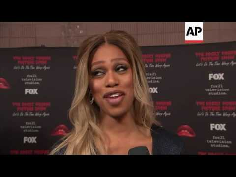 Laverne Cox, wheelchair-bound Tim Curry attend 'Rocky Horror Picture Show' remake premiere Mp3