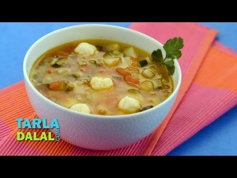 Potato, Zucchini And Tomato Soup By Tarla Dalal