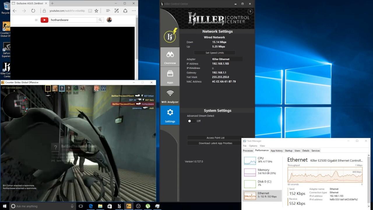 Rivet Networks Killer E2500 Gigabit Ethernet For Gamers With