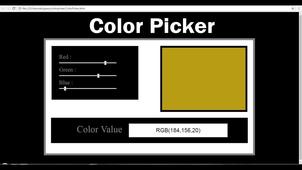Html5 Color Picker - Using Html Css and Javascript ( Jquery ) - YouTube
