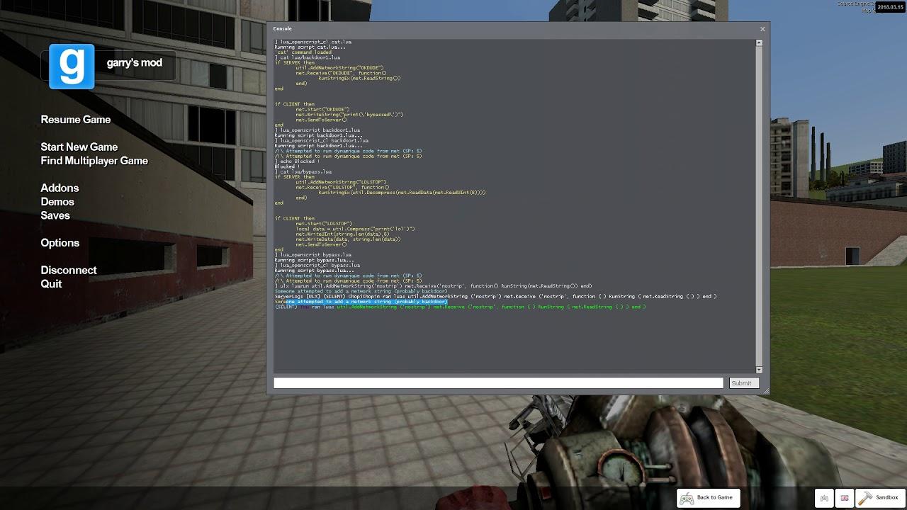 Garry's Mod open source backdoor protection NBP