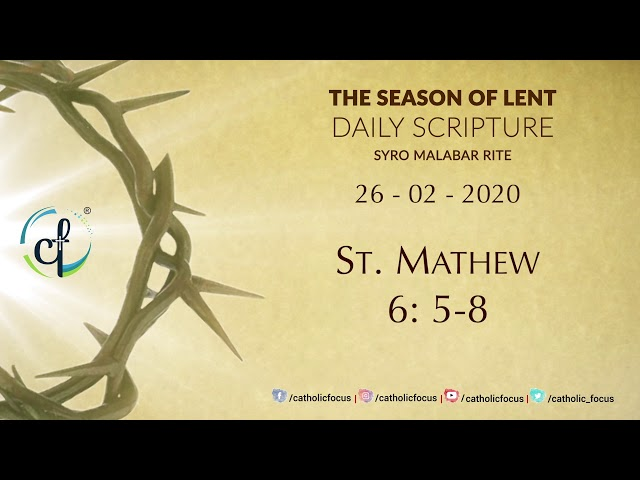 Daily Gospel Reading || Syro Malabar || 26th Feb || Great Lent