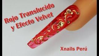 Uñas Acrílicas Rojas con Gota de Arte y Velvet / Xnails Peru