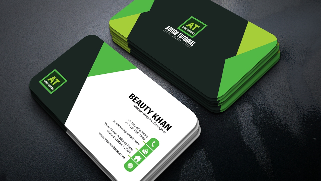 adobe illustrator tutorial latest style business card green