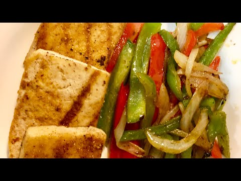 barbecued tofu with onions and peppers