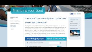 Boat Loans Rate Calculator - For Your Monthly Boat Loan Costs