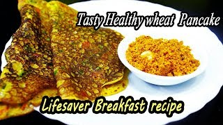 Savory and Spicy Wheat Pancake | Healthy Breakfast Recipe | MadhurasRecipe | Ep - 619