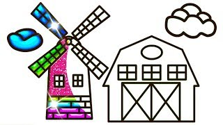 Glitter House For Kids Drawing And Coloring   How to Draw House #GlitterHouse