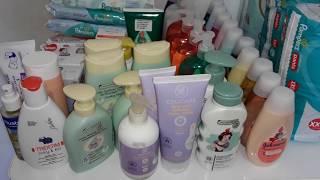 Estoque de produtos de higiêne e fraldas do bebê