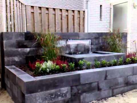 Waterornament met waterval youtube - Prieel tuin ...