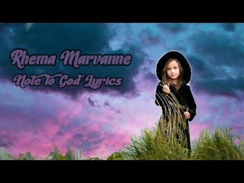 Rhema Marvanne Note to God Lyrics