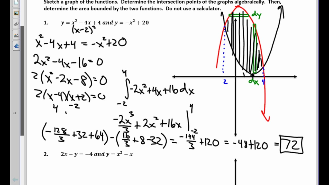 Calculus Unit 61 Notes Worksheet On Finding Area Between Two Curves 2017