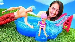 Barbie oyunları Sevcan ile. Chelsea havuzda yüzme dersine başlıyor