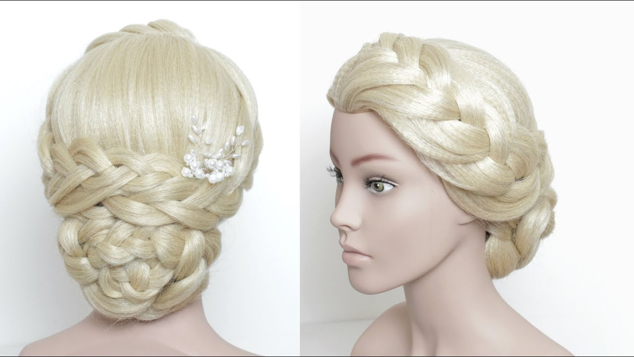 Romantic Braided Updo. Upstyle For Prom, Wedding - YouTube
