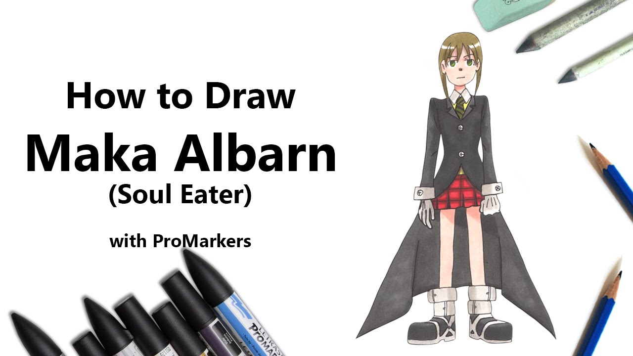How To Draw And Color Maka Albarn From Soul Eater With Promarkers
