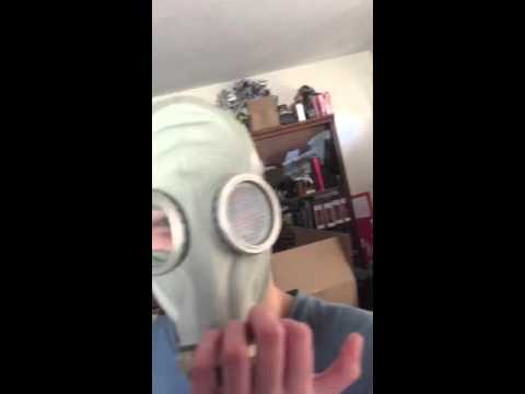 Adult Russian Citizen Full Head Gas Mask Fitting Demonstration