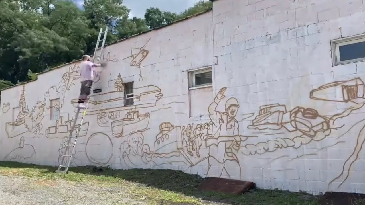 MY BIGGEST MURAL YET - Studio Time With ZAC #015 - Honoring the veterans for a VFW in Pittsburgh