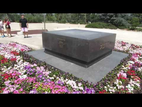 Theodor Herzl's grave on the north side of Mount Herzl plaza, Jerusalem, Israel
