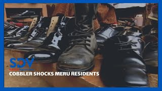 Cobbler camps at Meru police station repairing and polishing shoes for Police for free