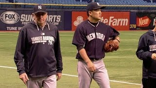 NYY@TB: Tanaka throws bullpen session before the game