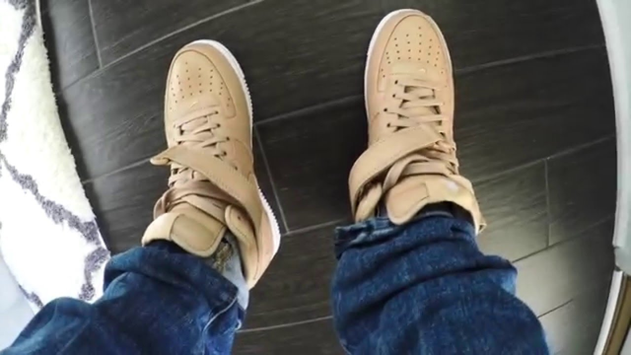f7ab46058049 NikeLab Air Force 1 Mid Vachetta Tan Review with On Feet - YouTube