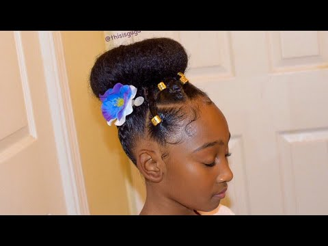 Easy Quick Kids Little Girls Natural Hairstyle For Easter Spring