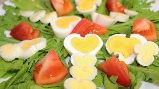 Яйца в форме сердца и лепестков. Украшение к столу за 5 МИНУТ(!!!)