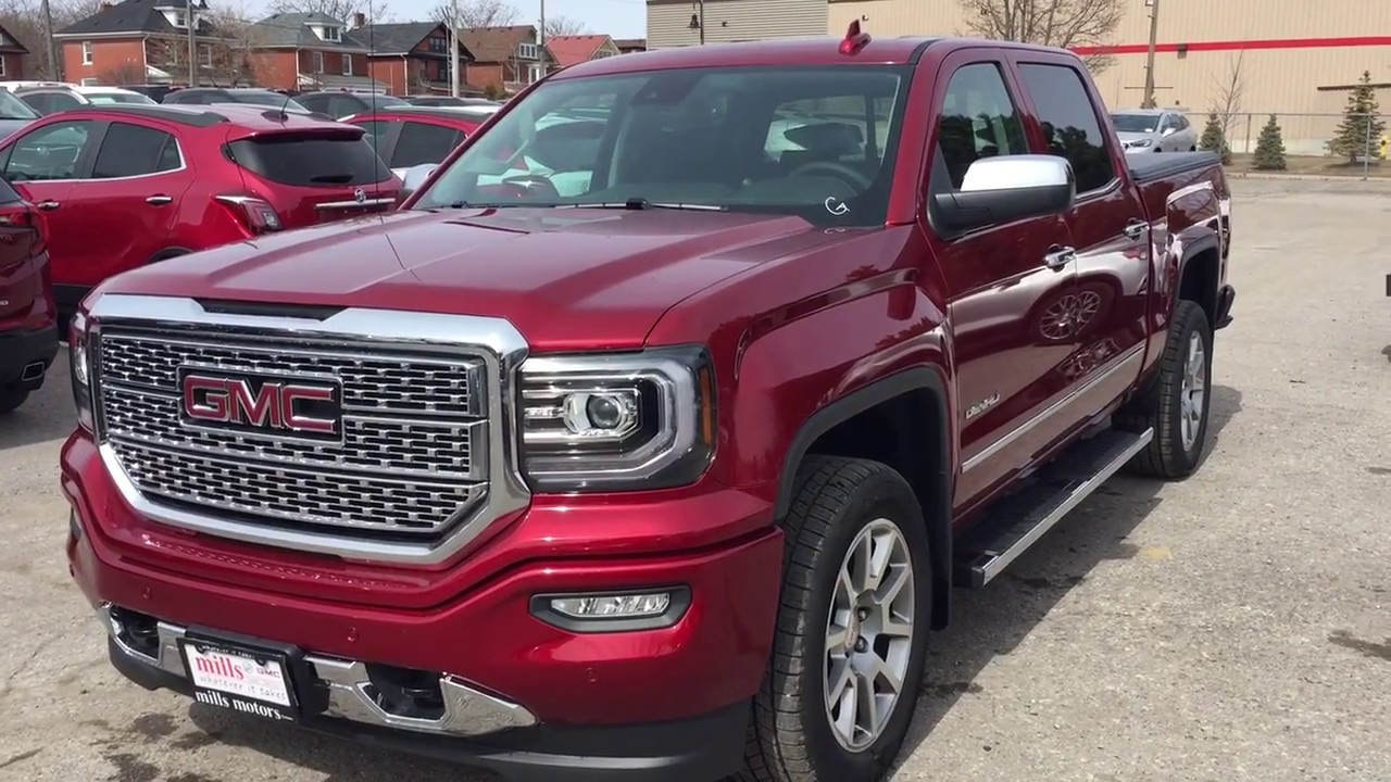 2018 gmc sierra 1500 4wd crew cab denali sunroof spray on liner red oshawa on stock 180760