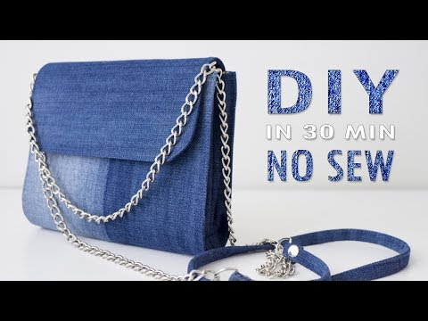 DIY CUTE JEANS PURSE BAG IDEA NO SEW // Old Jeans Transform Into Bag In 30 Min