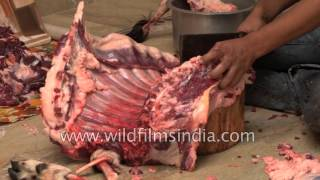 Chopping Of Goat Meat By A Butcher On The Occasion Of Id-ul-Zuha